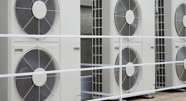 Ductless heat pump towers.